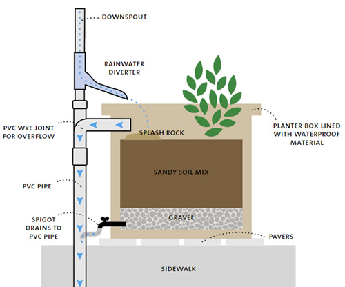 Stormwater Drainage Collection Boxes : Permeable pavement downspout planters enhanced tree